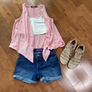 Kid Girls pink Sleeveless open cardigan
